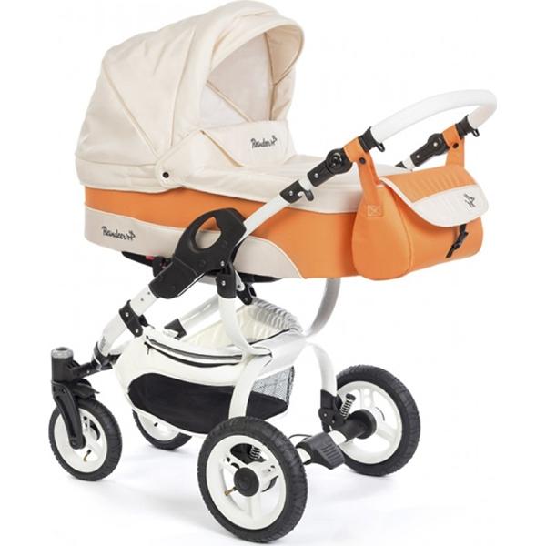 Детская коляска Reindeer City Nova 2 в 1, люлька+автокресло (Белый/оранжевый)