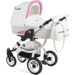 Детская коляска Reindeer City Wiklina 2 в 1, эко-кожа (Белый/розовый)
