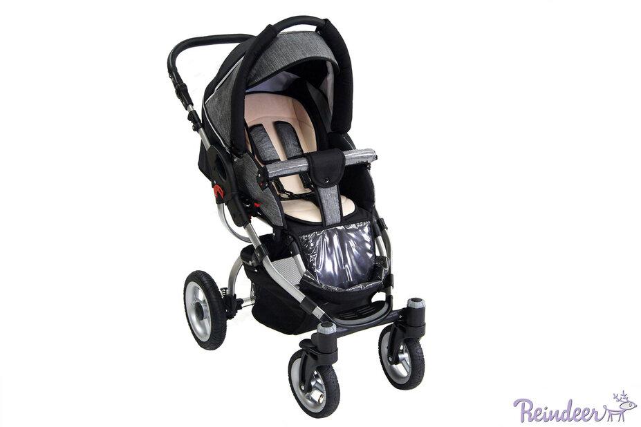 Детская коляска Reindeer City Cruise 2 в 1 с конвертом (черный/серый)