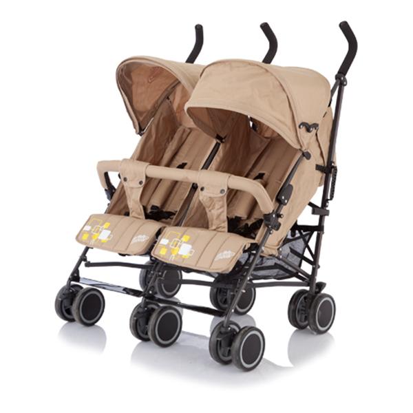 Коляска-трость для близнецов Baby Care City Twin (Бежевый)