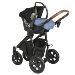 Коляска Tutis Nanni 3 в 1 (Синий+кожа)/гелевые колеса