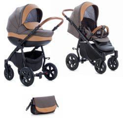 Коляска Tutis Nanni 2 в 1 (Серый+кожа коричневый)/гелевые колеса