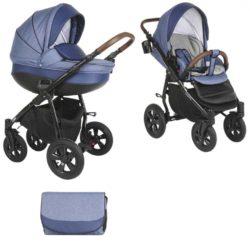 Коляска Tutis Nanni 2 в 1 (Синий+кожа)/гелевые колеса