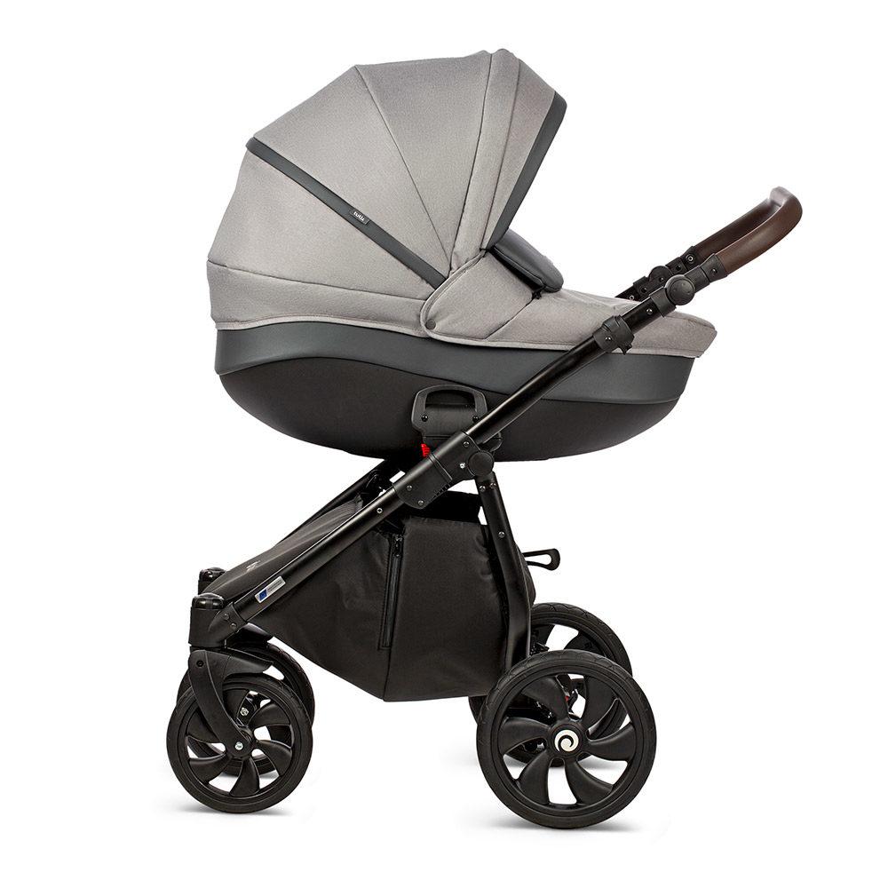 Коляска Tutis Nanni 2 в 1 2019 (Серый+кожа тёмно-серый)/гелевые колеса