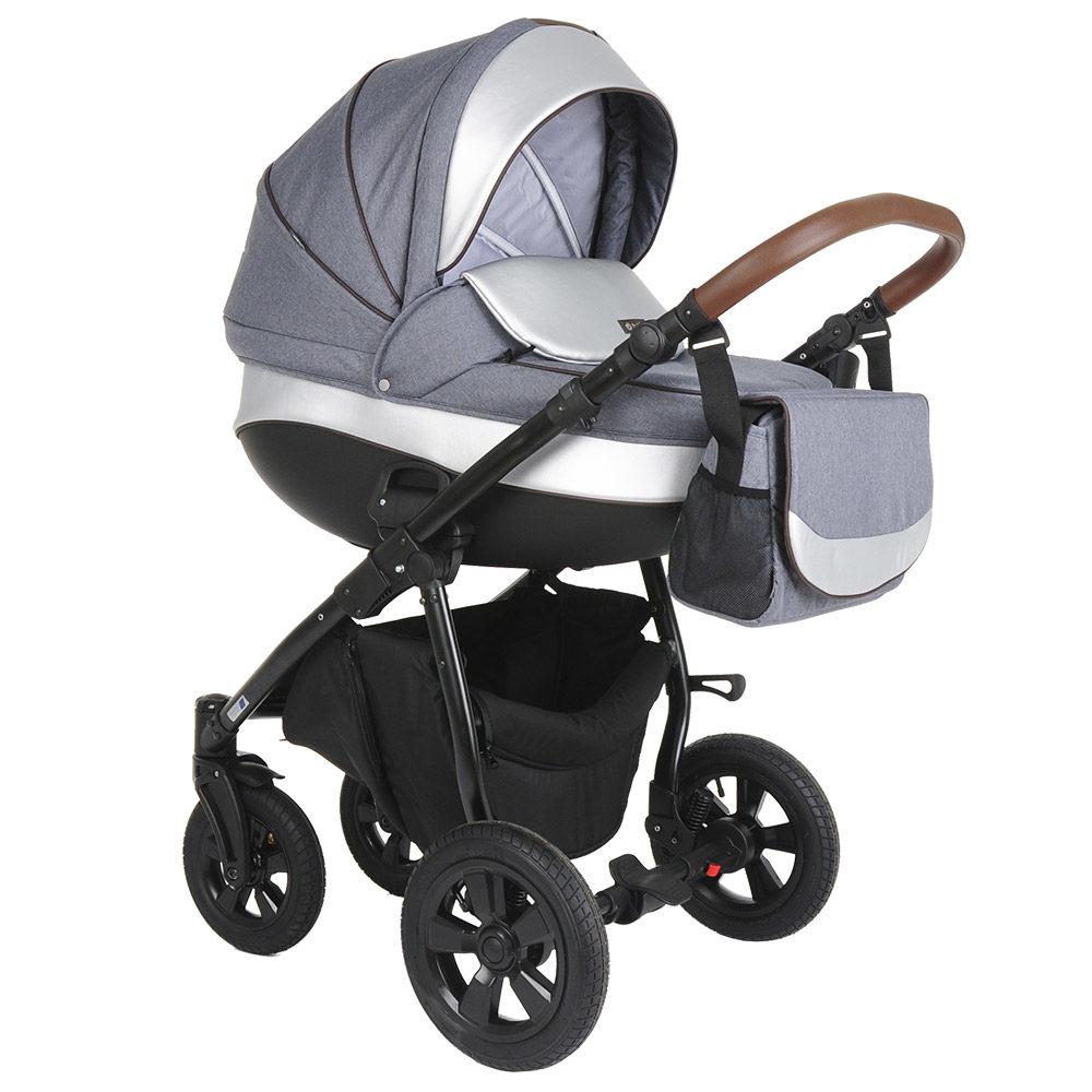 Коляска Tutis Nanni 3 в 1 (Серый+Кожа серебро)/гелевые колеса