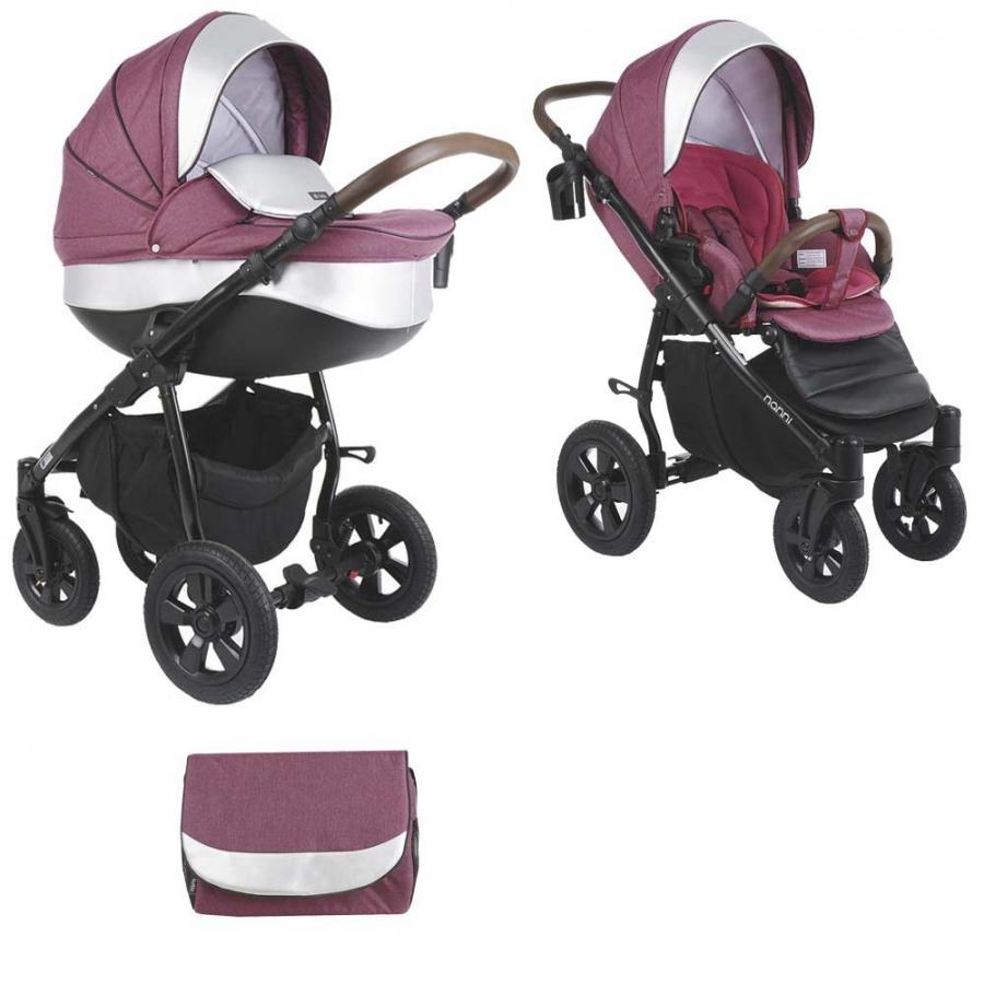 Коляска Tutis Nanni 2 в 1 (Фиолетовый+Кожа серебро)/гелевые колеса