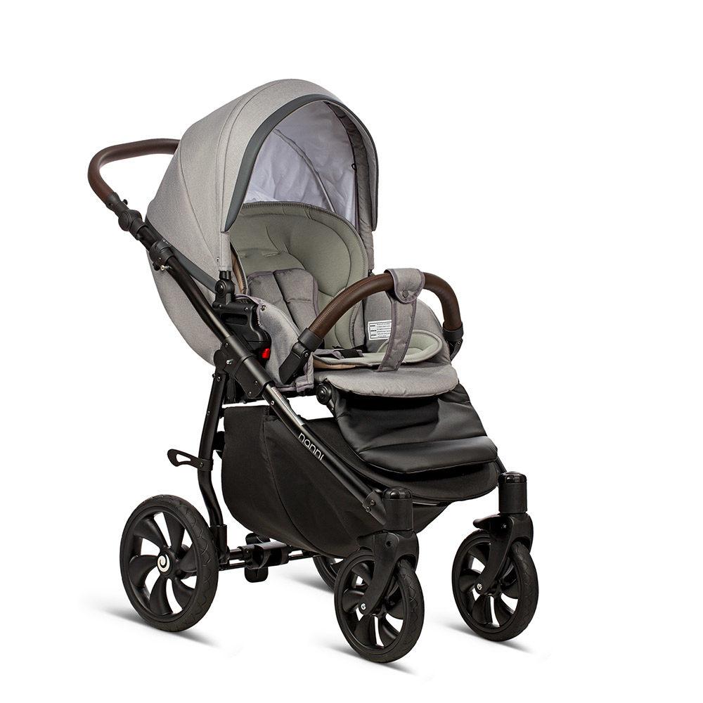 Коляска Tutis Nanni 3 в 1 2019 (Серый + Кожа Темно-серый)/гелевые колеса