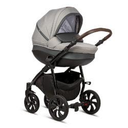 Коляска Tutis Nanni 2 в 1 2019 (Серый + Кожа Темно-серый)/гелевые колеса