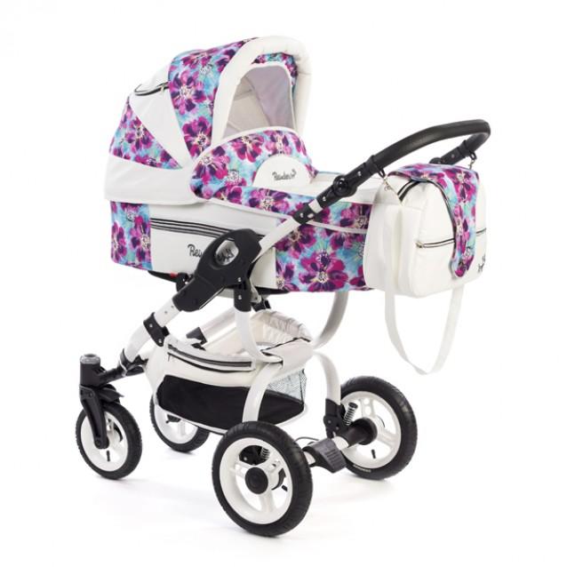 Детская коляска Reindeer City Lily 3 в 1, эко-кожа с конвертом (Белый-розовый)