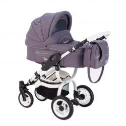 Детская коляска Reindeer City Lily 3 в 1, эко-кожа с конвертом (фиолетовый)