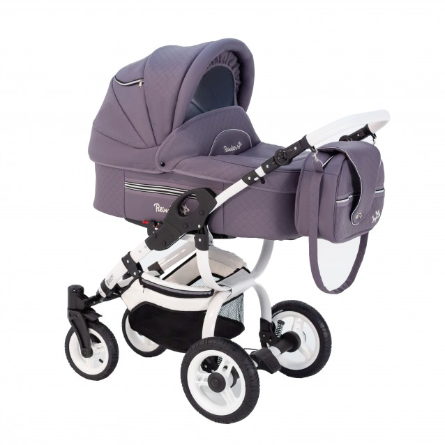 Детская коляска-люлька Reindeer City Lily, эко-кожа с конвертом (фиолетовый)