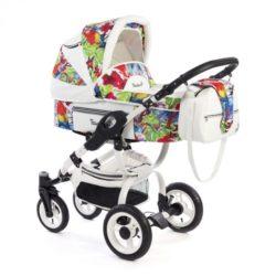 Детская коляска Reindeer City Lily 3 в 1, эко-кожа с конвертом (Белый-разноцветный)