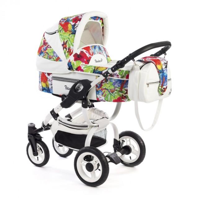 Детская коляска Reindeer City Lily 3 в 1, эко-кожа (Белый-разноцветный)