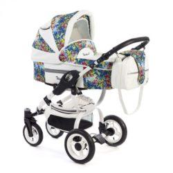 Детская коляска Reindeer City Lily 3 в 1, эко-кожа с конвертом (Белый с узорам)