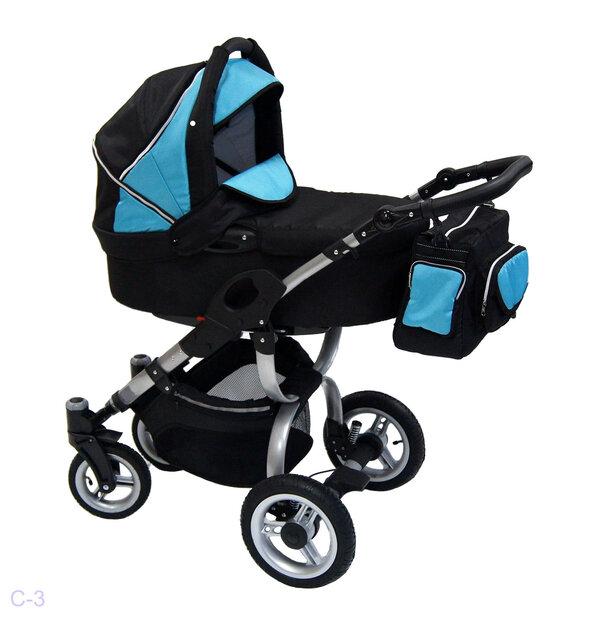 Детская коляска Reindeer City Cruise 2 в 1 с конвертом (черный/голубой)