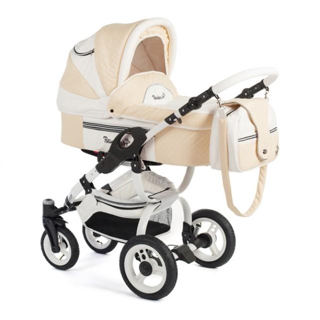 Детская коляска Reindeer City Lily 3 в 1, эко-кожа  (Белый-бежевый)