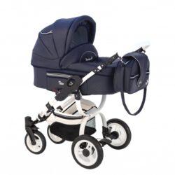 Детская коляска Reindeer City Lily 3 в 1, эко-кожа с конвертом (темный-синий)