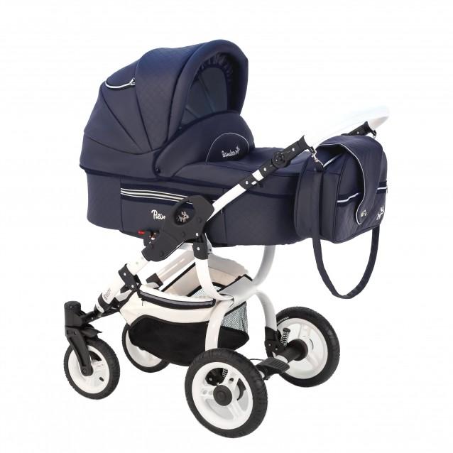 Детская коляска Reindeer City Lily 2 в 1, эко-кожа с конвертом (темно-синий)