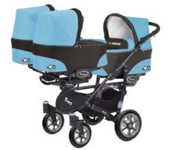 Коляска для тройни BabyActive Trippy Standart 2 в 1 Black (Голубой)