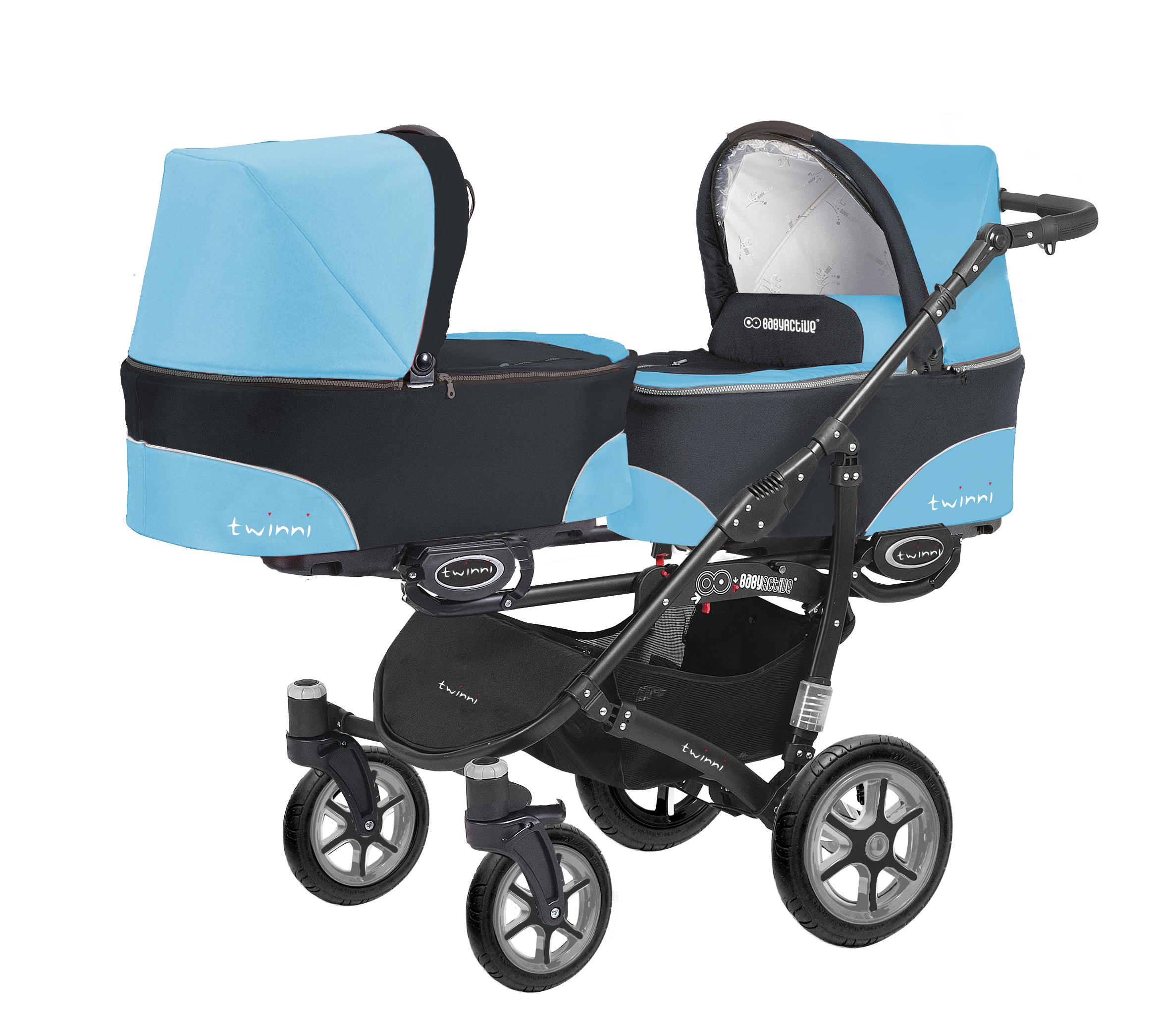 Коляска для двойни BabyActive Twinny Standart 2 в 1 Black (Голубой)