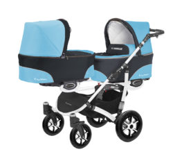 Коляска для двойни BabyActive Twinny Standart 2 в 1 White (Голубой)