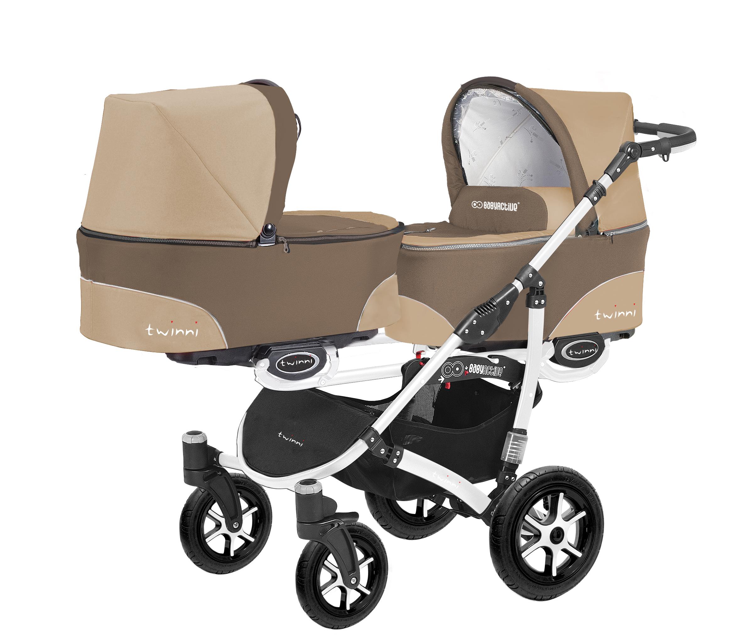 Коляска для двойни BabyActive Twinny Standart 2 в 1 White (Бежевый)