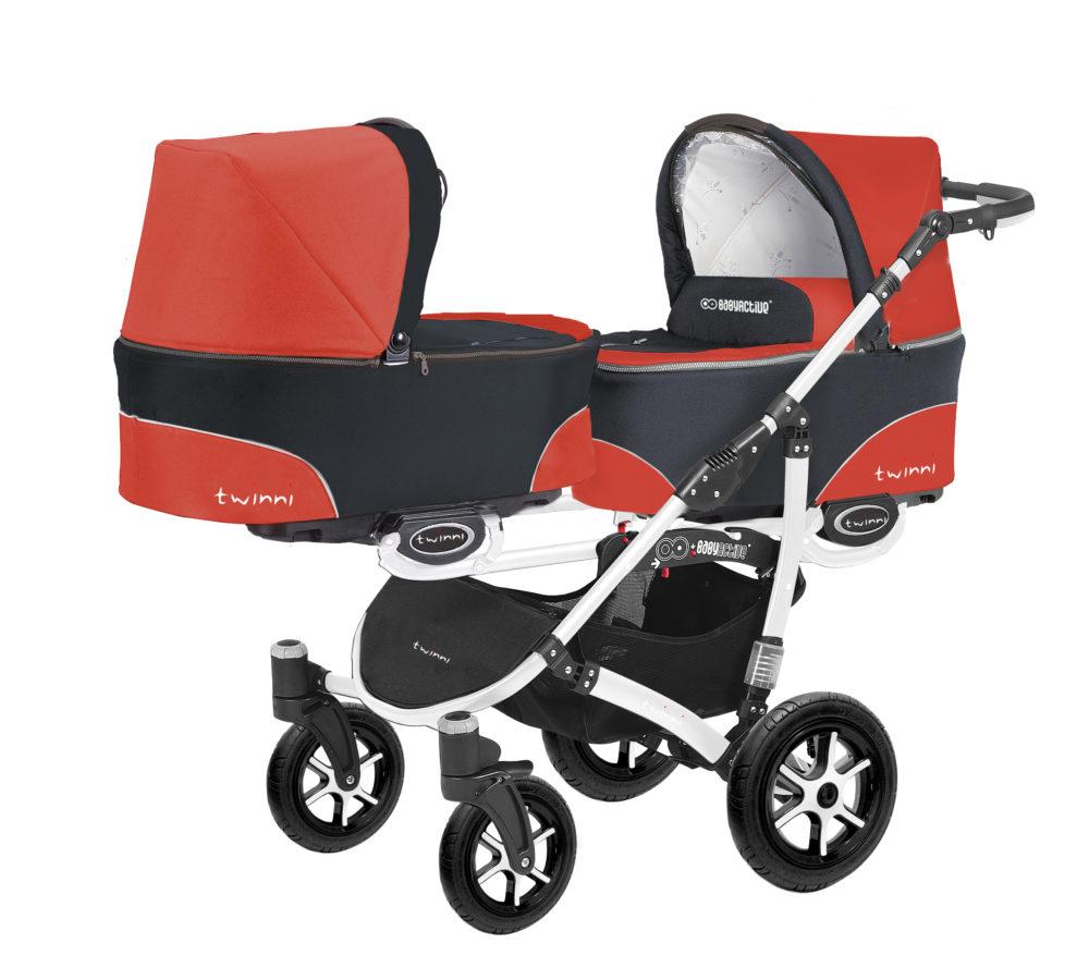 Коляска для двойни BabyActive Twinny Standart 2 в 1 White (Красный)