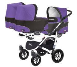 Коляска для тройни BabyActive Trippy Standart 2 в 1 White (Фиолетовый)
