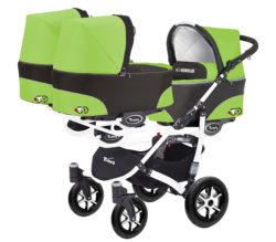 Коляска для тройни BabyActive Trippy Standart 2 в 1 White (Зеленый)