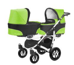 Коляска для двойни BabyActive Twinny Standart 2 в 1 White (Зеленый)