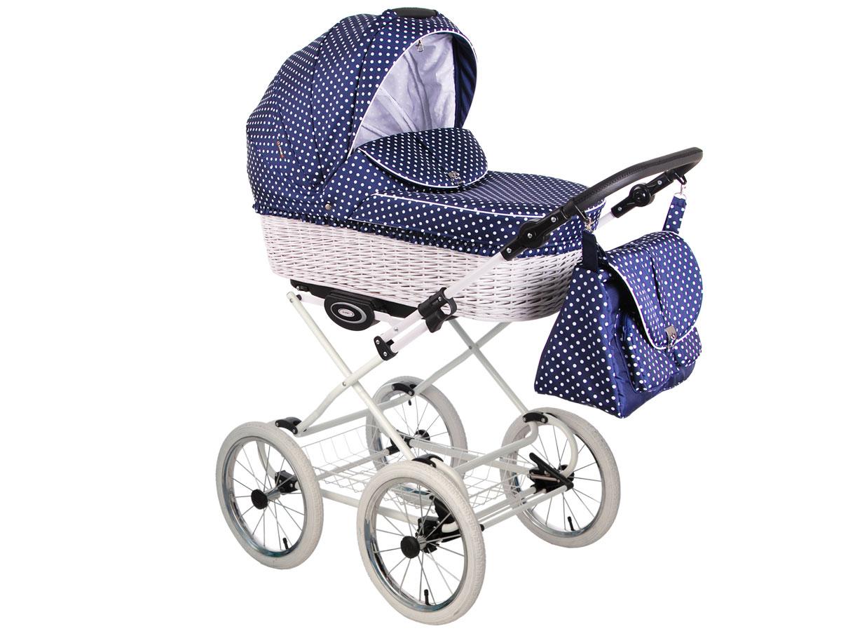 Детская коляска LONEX CLASSIC RETRO 2 в 1 (Темно-синий/белый)