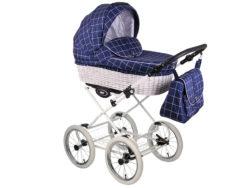 Детская коляска LONEX CLASSIC RETRO 3 в 1 (Синий/белый)