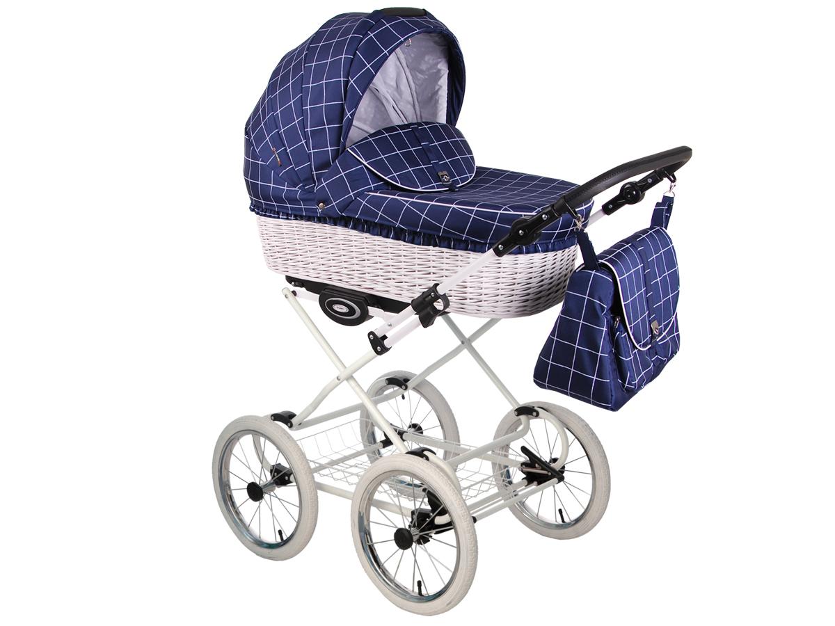Детская коляска LONEX CLASSIC RETRO 2 в 1 (Синий/белый)