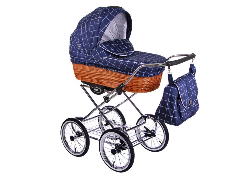 Детская коляска LONEX CLASSIC RETRO 3 в 1 (Синий в клетку)