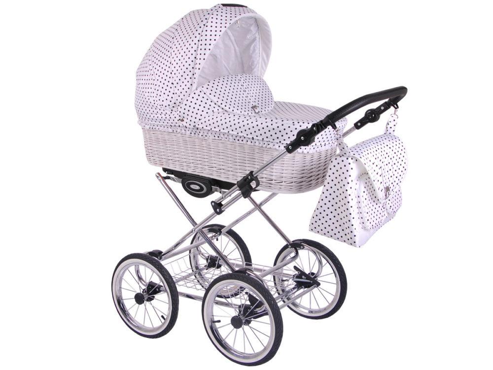 Детская коляска LONEX CLASSIC RETRO 3 в 1 (Белый в горох)