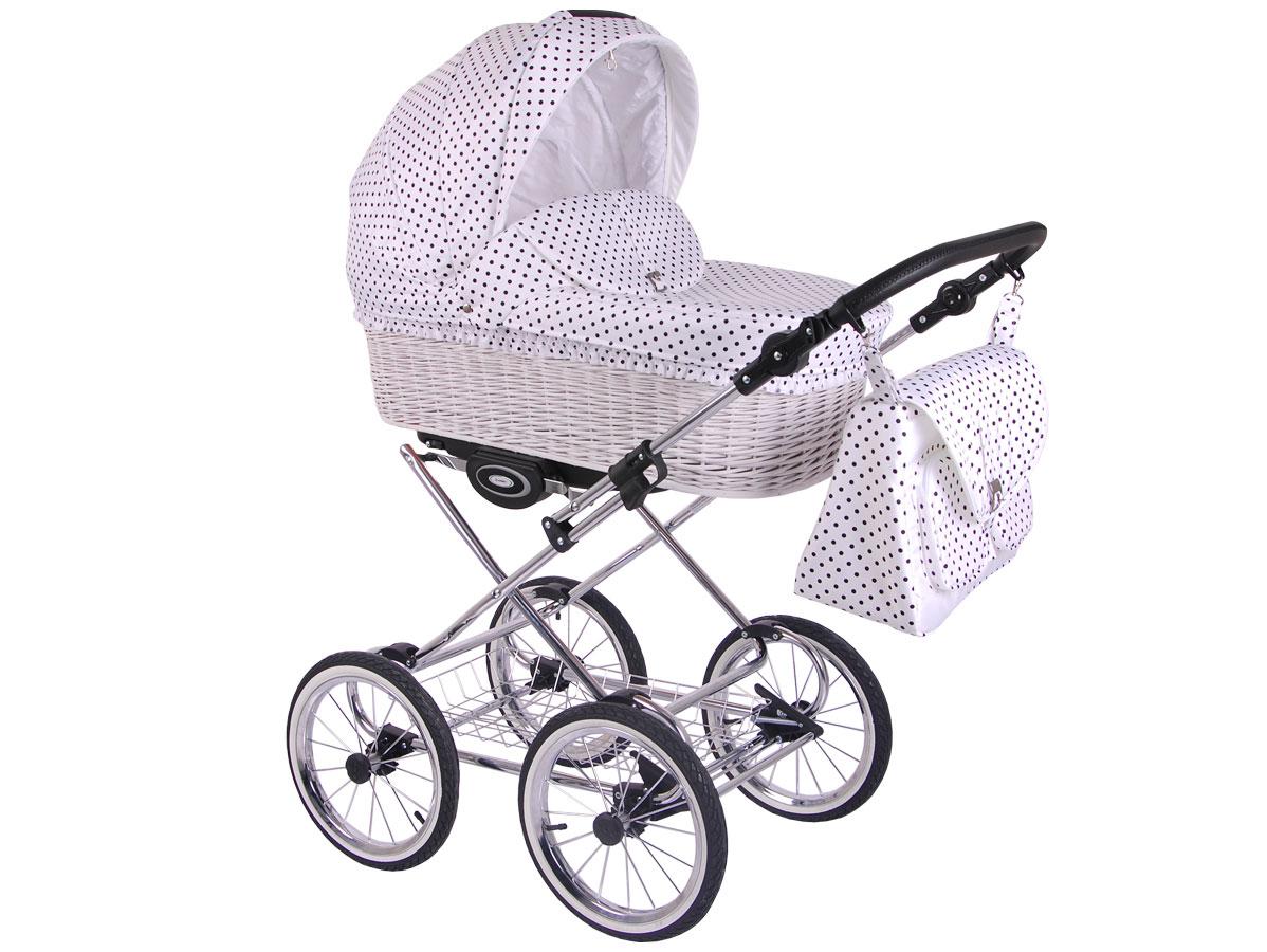 Детская коляска LONEX CLASSIC RETRO 2 в 1 (Белый в горох)