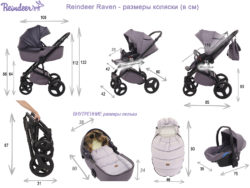 Детская коляска Reindeer Raven 3 в 1 (Темный/синий)