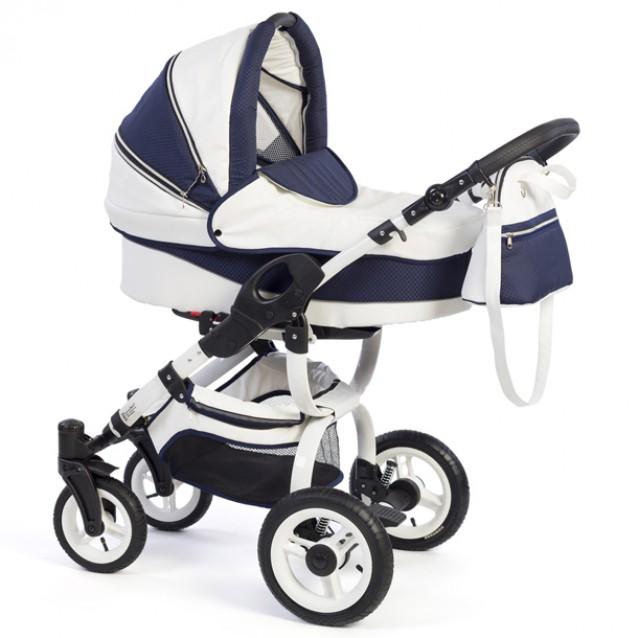 Детская коляска Reindeer City Cruise Leather 3 в 1 с конвертом (белый-синий)