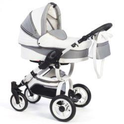 Детская коляска Reindeer City Lily 3 в 1, эко-кожа с конвертом (Белый-серый)