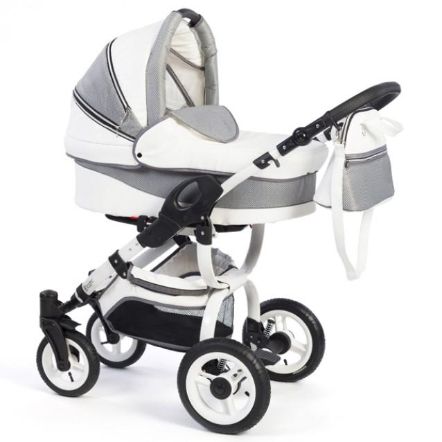 Детская коляска Reindeer City Cruise Leather 3 в 1 с конвертом (белый-серый)