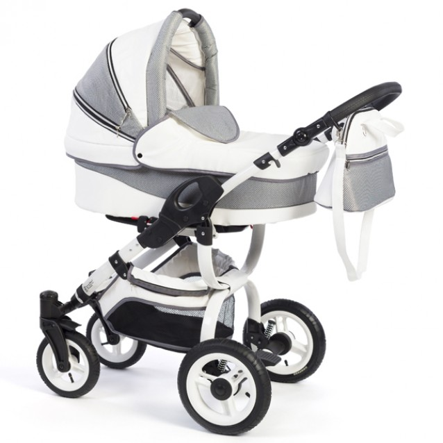 Детская коляска-люлька Reindeer City Lily, эко-кожа  (Белый-серый)