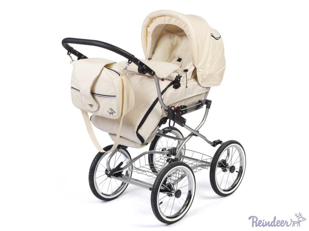 Детская коляска Reindeer Wiklina Eco-Leather 3 в 1 с конвертом (белый)