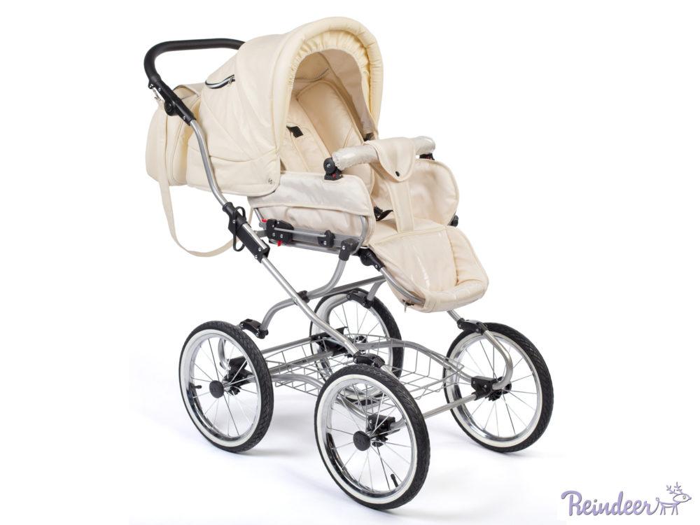 Детская коляска Reindeer Wiklina Eco-Leather 2 в 1 (белый)