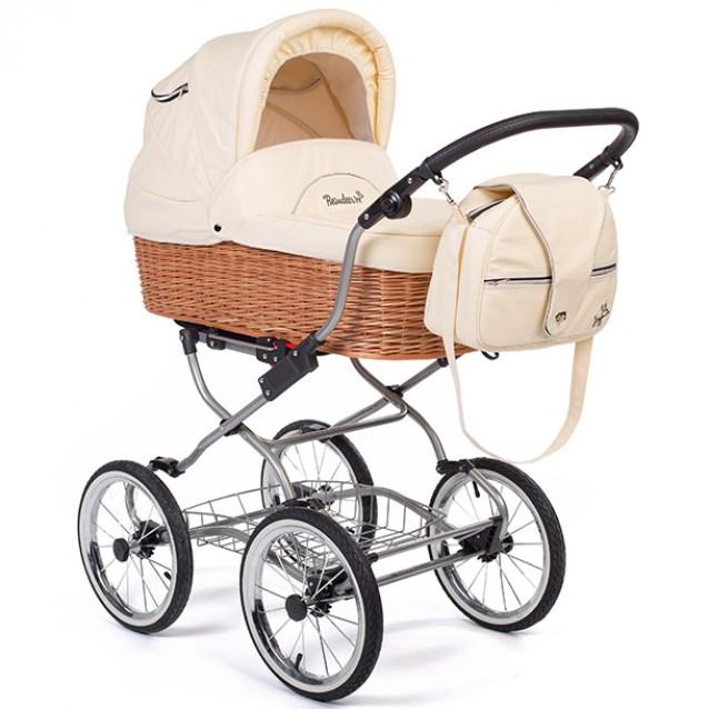 Детская коляска Reindeer Wiklina Eco-Leather 2 в 1 с конвертом (белый)