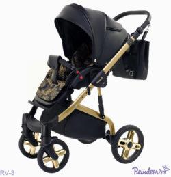 Детская коляска Reindeer Raven 3 в 1 (Черно/золотой)