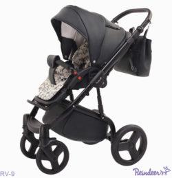 Детская коляска Reindeer Raven 3 в 1 (Черный/Белый)