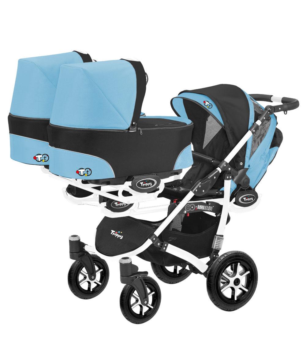 Коляска для тройни BabyActive Trippy Standart 2 в 1 White (Голубой)