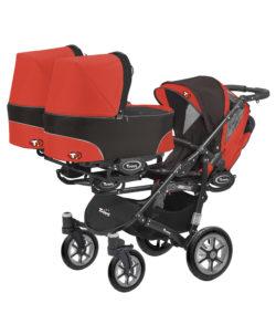 Коляска для тройни BabyActive Trippy Standart 2 в 1 Black (Красный)