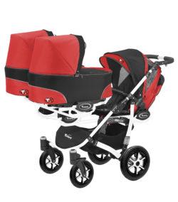 Коляска для тройни BabyActive Trippy Standart 2 в 1 White (Красный)