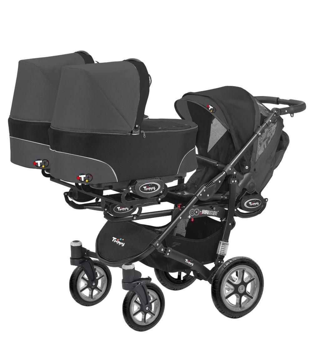 Коляска для тройни BabyActive Trippy Standart 2 в 1 Black (Черный)
